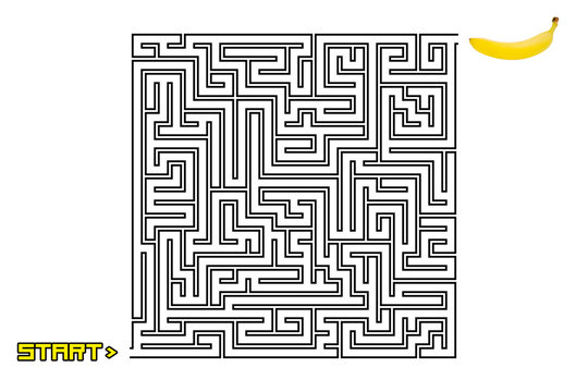 A maze or labyrinth with the text Start at the beginning (starting point) and a yellow ripe banana at the end. No solution path.