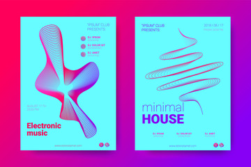 Music Flyers with Equalizer and Wave Colorful Distorted Rounds.