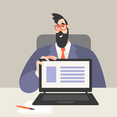 Vector illustration of a man at an office table showing the laptop screen with business presentation