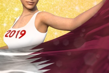 cute girl holds Qatar flag in front on the yellow shining sparks background - Christmas and 2019 New Year flag concept 3d illustration
