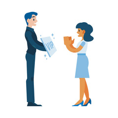 Vector customer retention and customer relations managment concept with smiling manager with special offer in hands - vip card or bonus package offering to young girl, woman client clapping