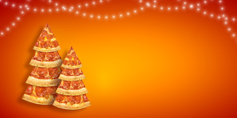 Christmas promotion flyer with pizza slice in shape of Christmas tree with copy space. Creative concept new year poster pizza
