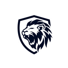Roaring lion logo template design