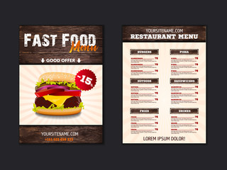 Fast food loft menu brochure design on wooden background vector template in A4 size. flyer, baner and Layout Design. food concept.