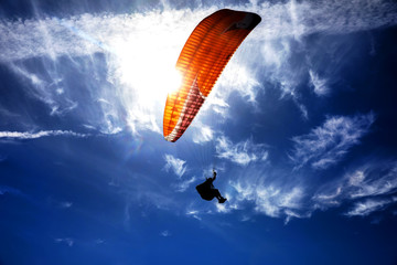 Photo sur Toile Aerien Paragliding on the sky