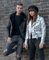 Models wear bike-style jackets by fashion brand Altiir made with Pinatex in London