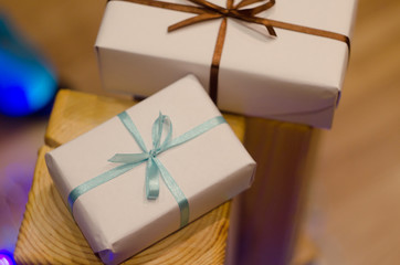 Christmas gift box or present with  ribbon on magic  bokeh background