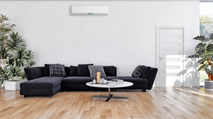 modern bright interiors Living room with air conditioning illustration 3D rendering computer generated image