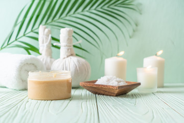 Spa treatments set on wooden background