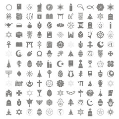Set of monochrome icons with religious symbols for your design