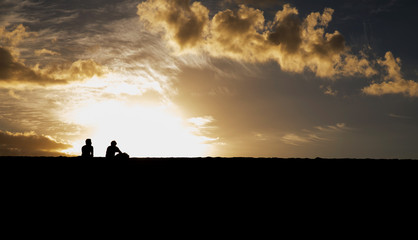 Romantic couple  sundown sea