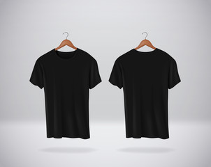 Fototapeta Black T-Shirts Mock-up clothes hanging isolated on wall, blank front and rear side view. obraz