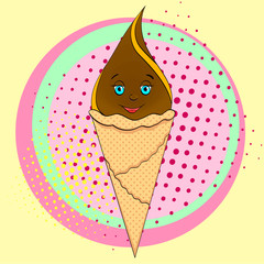 Ice cream cone with face, smile on pop art background. An imitation comic book. raster
