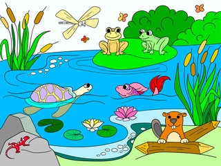 wetland landscape with animals color raster for adults