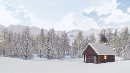 Wall Mural - Snow covered wooden hut with smoking chimney and lighted window among snowbound fir forest high in alpine mountains at calm winter day during snowfall. With no people 3D animation rendered in 4K
