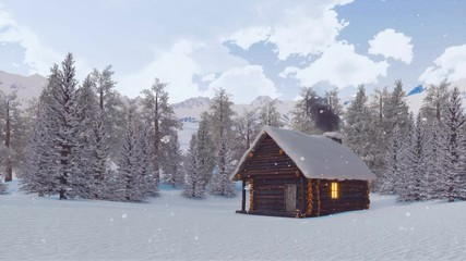 Wall Mural - Cozy snow covered log cabin with smoking chimney and lighted window among pine forest high in snowy alpine mountains at winter day during snowfall. With no people 3D animation rendered in 4K