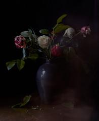 dark flower vase artistic still life