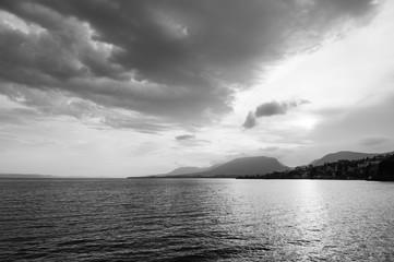 Lake Neuchatel in beautiful evening sunset sky