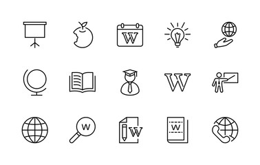 Wikipedia's birthday Set Line Vector Icon. Contains such Icons as Wikipedia, Open Book, Teacher, Blackboard, Pointer, Web Globe, Directory, Search, Lamp, Calendar. Editable Stroke. 32x32 Pixel Perfect
