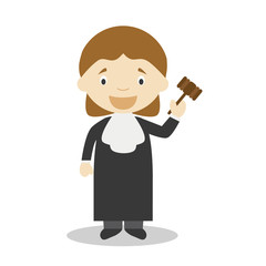 Cute cartoon vector illustration of a judge. Women Professions Series