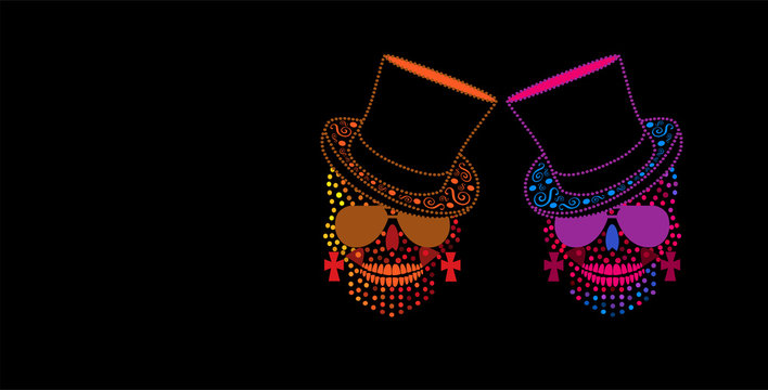 Cool background with skull icon with cylinder hat and sunglasses, halftone color dots