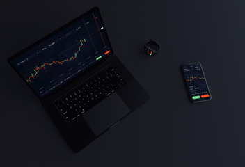 Stock exchange concept app running on laptop, phone and smart watch simultaneous (3D illustration)