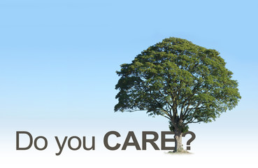 Wake up People - do you really care about our beautiful TREES? - campaign tree merged with the word CARE and a question mark against a plain graduated blue sky background
