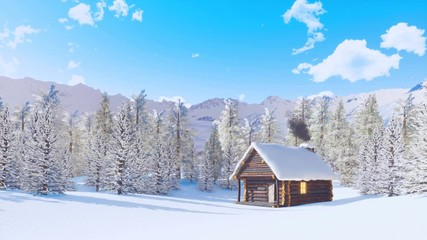 Wall Mural - Solitary snowbound log cabin with smoking chimney among fir forest high in snowy alpine mountains at sunny winter day. With no people 3D animation rendered in 4K