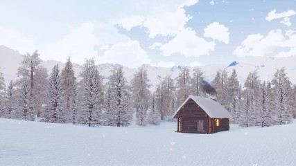 Wall Mural - Dreamlike winter scenery - cozy solitary log hut with smoking chimney among snow covered spruce forest high in alpine mountains at dusk during snowfall. With no people 3D animation rendered in 4K