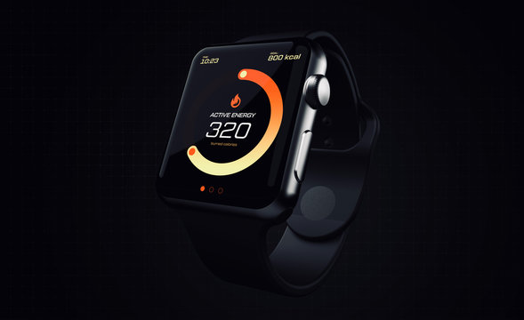 Modern smartwatch with fitness tracker app on screen tracking burned calories on dark background (3D illustration)