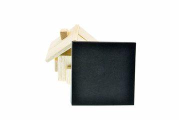 wooden house on white background