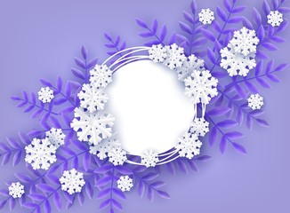 Winter natural banner vector illustration for seasonal design with copy space - decorative background with blue tree leaves and white snowflakes in paper art style around blank grunge round shape.