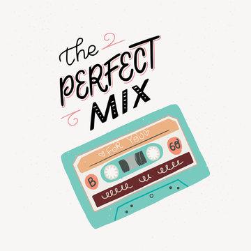 Old cassette mix tape illustration
