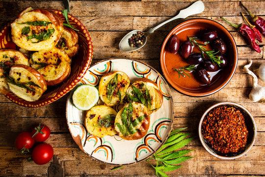 Homemade bruschetta with marijuana and natural ingredients