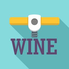 Wine corkscrew logo. Flat illustration of wine corkscrew vector logo for web design