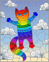 Stained glass illustration with cartoon rainbow cat on the background of the sky and clouds