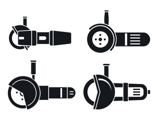 Angle grinder tool icon set. Simple set of angle grinder tool vector icons for web design on white background