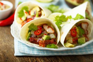 Homemade chicken taco with avocado
