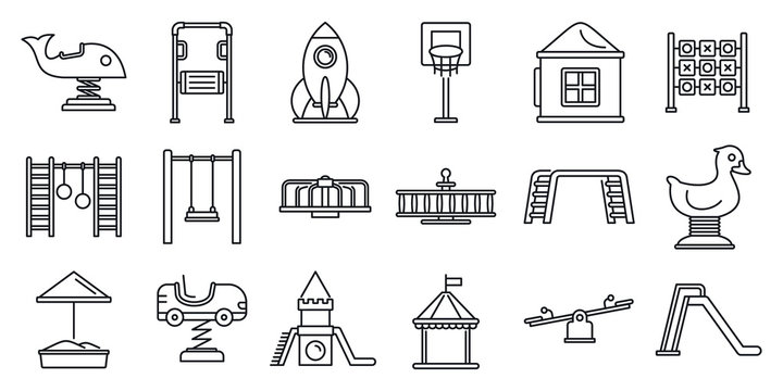 Park kid playground icon set. Outline set of park kid playground vector icons for web design isolated on white background