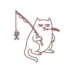 Fisherman cat with fishing rod and fish