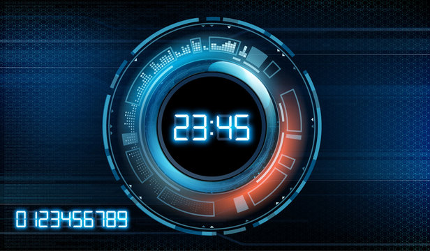 Futuristic modern clock face with a set of glowing digits. Technology stopwatch.