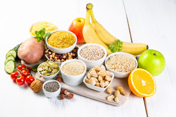 Selection of good carbohydrates sources - vegetables, fruits, grains, legumes, nuts and seeds....