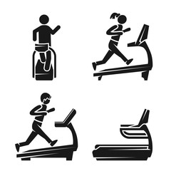 Treadmill icon set. Simple set of treadmill vector icons for web design on white background