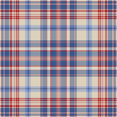 Seamless Red, White, and Blue Plaid Pattern