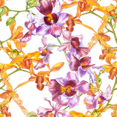 Watercolor orchid branch, hand drawn floral seamless pattern background. Flora watercolor illustration, botanical painting, hand drawing.