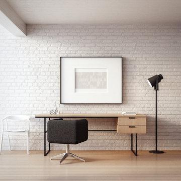 The Loft & Modern Working - Living Home / 3D render interior