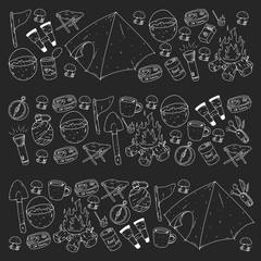 Camping, hiking, scouts. Vector set of doodle icons. Adventure at forest and nature with compass, tent, tincans. Blackboard chalk illustration.