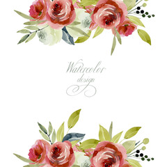 Card tempate with watercolor burgundy and white roses, hand painted on a white background, holiday card design, decoration postcard, wedding invitation