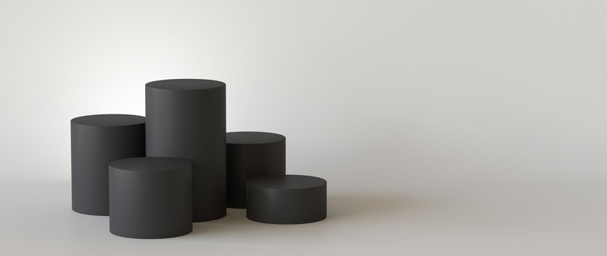 Empty black podium on white background. 3D rendering.