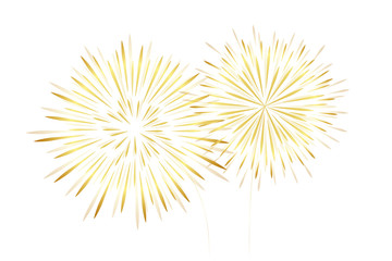 golden new year fireworks isolated on white background vector illustration EPS10